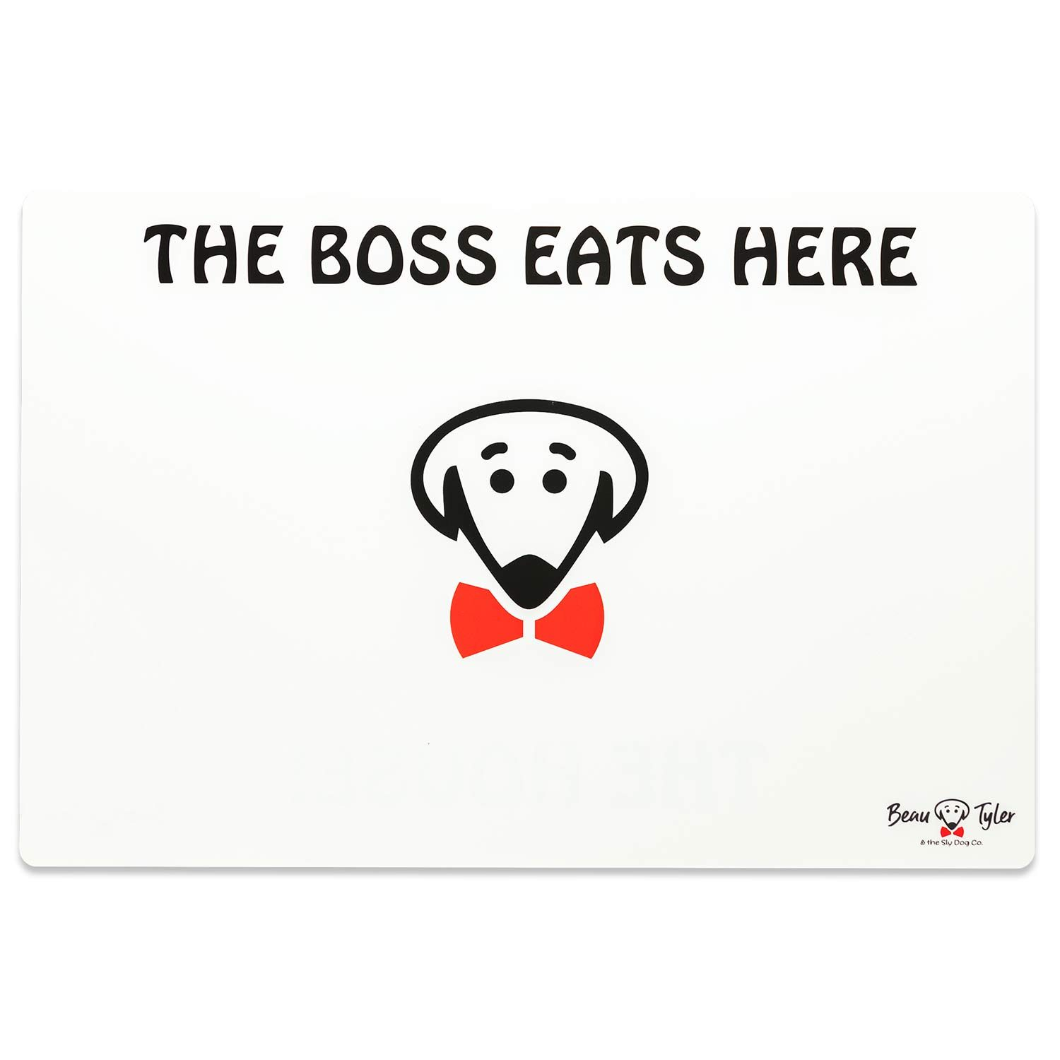 The Boss Eats Here pet mat in white by Beau Tyler