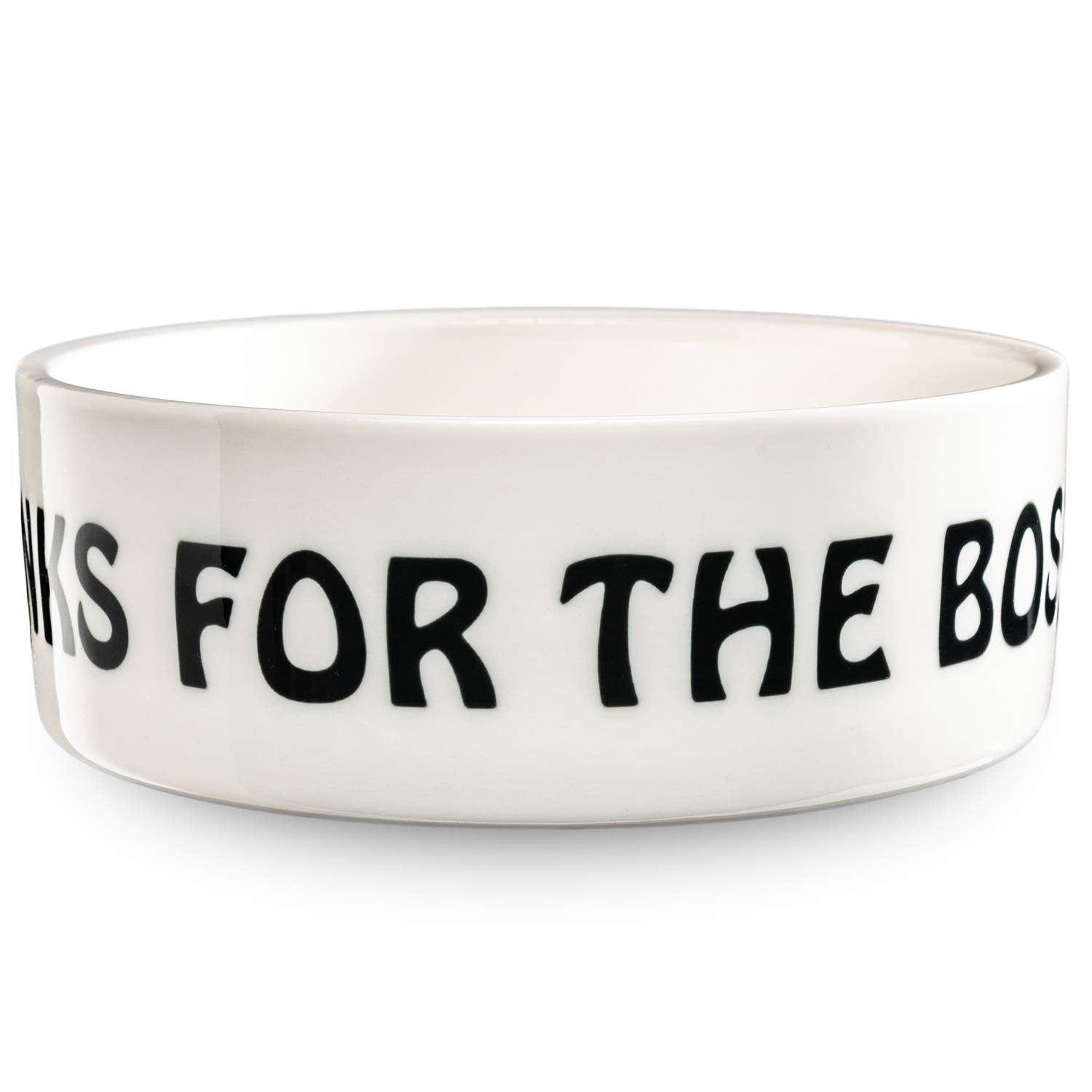 Drinks for the Boss pet bowl in white by Beau Tyler